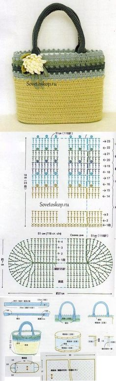 Ideas For Crochet Basket Diagram Ganchillo Crochet Diy, Crochet Tote, Crochet Handbags, Crochet Purses, Crochet Stitches, Crochet Patterns, Crochet Bracelet, Sac Granny Square, Diy Sac