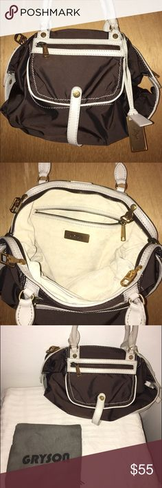 Classic Gryson Skye satchel purse Vintage Gryson Skye satchel. Amazing ivory leather detail with a cream nubuck sided interior. Super clean! Carried twice. GREAT CONDITION. Dimensions run: 16' x 10' x 4' Gryson Bags Satchels