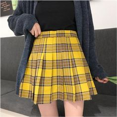 Gothic Grunge Harajuku Pleated Plaid Skirt (S to – ROCK 'N DOLL Plaid skirt outfits ideas what to wear plaid skirts Yellow Skirt Outfits, Yellow Pleated Skirt, Checkered Skirt, Plaid Mini Skirt, Plaid Skirts, Yellow Skirts, Yellow Tartan Skirt, Harajuku, Mellow Yellow