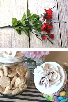 Make dollar tree plastic flowers look high end with this easy and quick home decor DIY idea for your living room or shelf decor. Plastic Flowers, Real Flowers, Remove Jar Labels, Plant Ladder, Paper Plants, Dollar Tree Decor, Painted Mason Jars, Small Rose, Hanging Planters