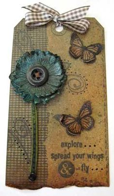 Tag by Wendy Vecchi using Darkroom Door 'Full Bloom Vol 1' and 'Wildflowers' Rubber Stamps.