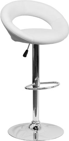 Flash Furniture 2 Pk. Contemporary White Vinyl Rounded Back Adjustable Height Barstool with Chrome Base