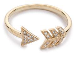 Ef Collection Arrow Ring - Gold ($351) ❤ liked on Polyvore featuring jewelry, rings, accessories, bijoux, bracelets, 14k yellow gold jewelry, yellow gold pave diamond ring, 14k ring, 14k gold ring and gold jewelry