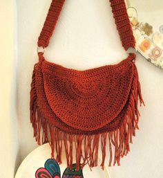 Bohemian Hippie Fringe Crochet Bag Purse Handmade por NonaRina, $120.00