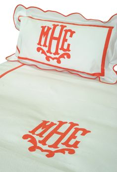 Leotine Linens Monogrammed Shams - Love It... Nothing like a Bold Monogram in the Bedroom.
