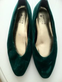 Green Velvet  Low Wedge Flat by PDeeVintage on Etsy