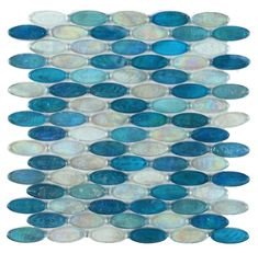 750a3e65cbe2 Atlantis Leaf Blue Glossy and Iridescent Glass Tile in 2019 ...