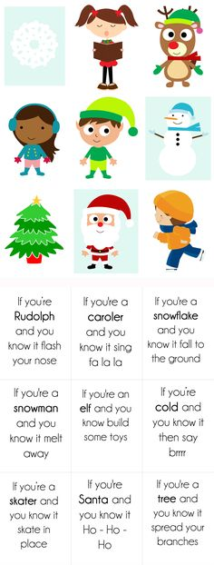 "{ Free Printable} Christmas version of ""if you are happy and you know it."" For example: ""If your a snowflake and you know it, fall to the ground."" The cards print back to back so the picture is on the front and the words are on the back. Easy and fun activity for a nursery class, primary singing time, or Kindergarten class party!"