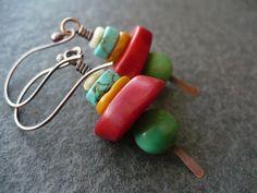 REBEL coral turquoise amber gemstone earrings by livewirejewelrysb