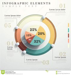 Flat style abstract pie chart infographics