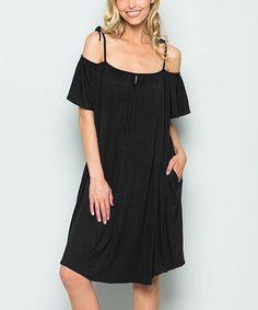 Another great find on #zulily! Black Pocket Off-Shoulder Dress #zulilyfinds