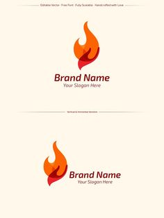 Hand + Fire Logo Template by NunoDias on @creativemarket