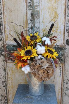 Rustic fall silk arrangement in galvanized watering can /sunflowers, cotton, burlap hydrangea, cattails, berries / autumn flower arrangement