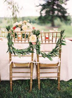 simple, elegant chair garlands via Southern Weddings Magazine