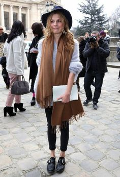 7+Chic+Ways+To+Wear+A+Camel+Scarf+via+@WhoWhatWear
