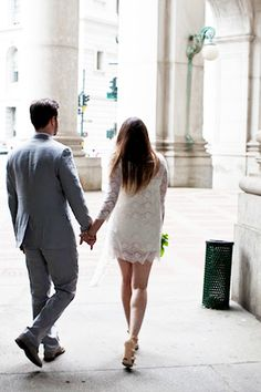 """Take Notes From This Budget Couple's NYC Wedding #refinery29  http://www.refinery29.com/stone-fox-bride/29#slide4  """"We liked the idea of getting married at City Hall because we met in New York, and just thought it would be a cool, fun, and easy way of doing things."""""""