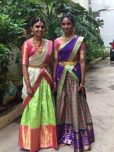 Half Saree Lehenga, Kids Lehenga, Lehenga Style, Saree Dress, Anarkali, Half Saree Designs, Lehenga Designs, Saree Blouse Designs, Blouse Patterns