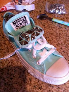 studded double tongue converse all star, chuck taylors on Etsy, $45.00