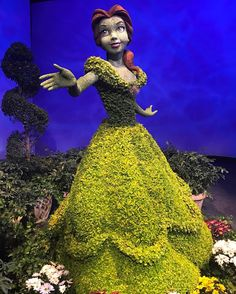 First look at the new Belle topiary for the Epcot Flower & Garden Festival. . . . #flower #epcot #disney #wdw #flowerandgardenfest #festival #belle #beautyandthebeast #topiary #orlando #disneyworld