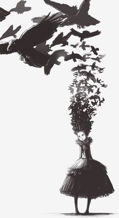 This would make such a cool tattoo...not the head or girl but like the raven flight