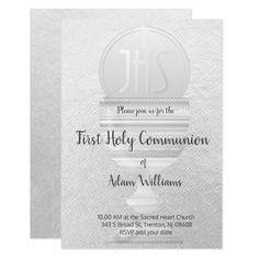 First Communion   Eucharist grey design Invitation   Zazzle.com