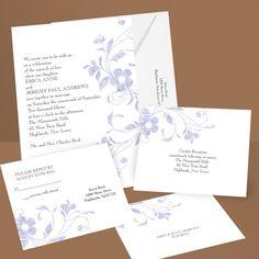 Pretty Floral - Grapevine - Invitation with Free Respond Postcard