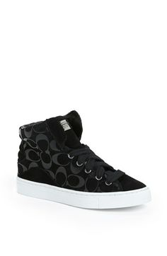 COACH 'Renee' Logo Stamped High Top Suede Sneaker available at #Nordstrom I want!