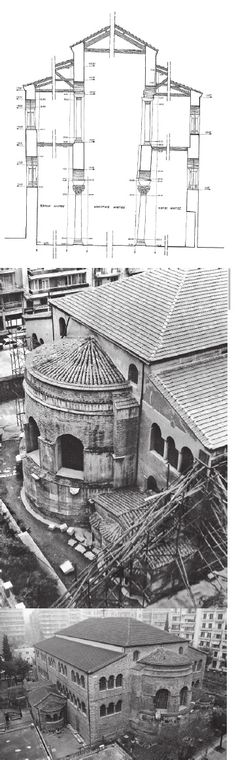 Panayia Acheiropoietos is a typical example of the early Christian three-aisled timber-roofed basilica, with narthex and galleries. It concerns an architectural type with small masonry masses and large openings that seems to have de facto weakness on Early Christian, Thessaloniki, Byzantine, Galleries, Greece, Restoration, Louvre, Type, Architecture