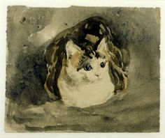 Gwen John adored her cats, and depicted them frequently. This one, a tortoiseshell named Edgar Quinet, appears in most of her cat drawings, sometimes with her kittens.  Gwen John, Cat c.1904–8