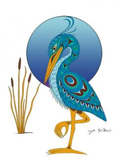 Joe Wilson Canadian First Nation Artist Prints Blue Heron American Art, Art Prints, Indigenous Art, Native Art, Heron Art, Tribal Art, Indian Art, Pacific Northwest Art, Bird Art