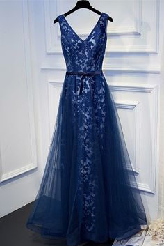Royal blue New arrival elegant party dress evening lace prom dresses ,satin prom dresses.V-neck lace -up gown.BD170533