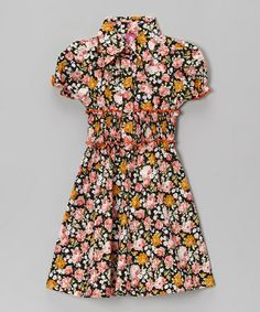 Take a look at this Pink Floral & Orange Contrast Shirt Dress - Toddler & Girls by Maria Elena on #zulily today!