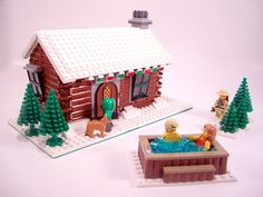 "My entry for Eurobricks' ""Expand the Winter Village II"" contest. Welcome to John and Susy Smith's log cabin! Now with Hot Tub! Lego Christmas Village, Lego Winter Village, Lego Design, Casa Lego, Xmas Countdown, Lego Craft, Lego For Kids, Lego Modular, Lego Worlds"