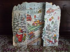 Vintage German Die Cut Advent Calendar Transportation Theme Amag Glittered