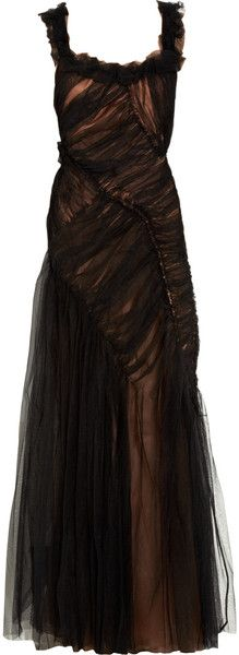Alberta Ferretti Tulle Overlay Silk Satin Gown in Black  ~a favourite designer, black and whispy goodness!