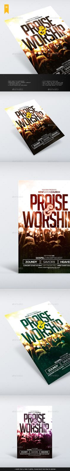 Praise And Worship - Church Flyer Template #design Download: http://graphicriver.net/item/praise-and-worship-church-flyer/12285116?ref=ksioks