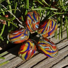 More Jambalaya  Set of 5 Encased Lampwork Beads  Dan O by koregon, $17.00