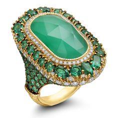 Judith Ripka 18KYG Dorsay Collection Rock Crystal Over Green Chalcedony & Green Quartz Ring - Windsor Fine Jewelers - https://www.windsorfinejewelers.com/
