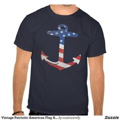 Vintage Patriotic American Flag Anchor USA T-Shirt #4thofjuly #patriotic #anchor @zazzle_inc