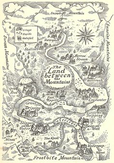 Mountain country is going to need an area like this to grow crops and livestock in The Land Between The Mountains, from Carol Kendall's The Gammage Cup, illustrated by Erik Blegvad. Fantasy Map Making, Fantasy World Map, Vintage Maps, Antique Maps, Art And Illustration, Map Illustrations, Imaginary Maps, Rpg Map, Inspiration Art