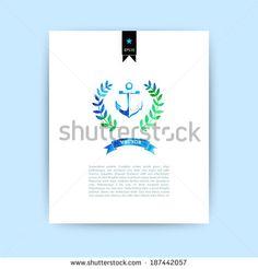 Vector anchor and wreath watercolor card. Watercolor Anchor with ribbon - stock vector