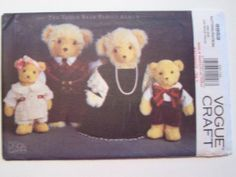 VOGUE 8959 Bear Family Clothing Pattern NEW Vintage 1994