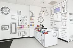 Drawn Kitchen and candy store