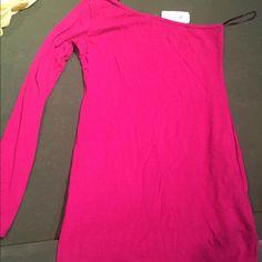 Hot pink one sleeved mini dress NWT Brand new forever 21 mini dress. Forever 21 Dresses One Shoulder