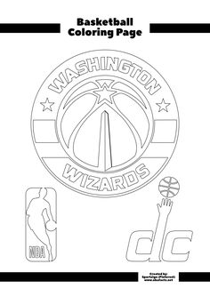 NBA Team for the Washington Wizards. This is a free colouring sheet for basketball fans. If you want the high quality version of this coloring page, click to the website (NBAFacts.net) & download the printable colouring page for free. Good for sports teachers, parents of basketball kids or a themed basketball party. Basketball Party, Basketball Teams, Free Coloring Sheets, Printable Coloring Pages, Washington Wizards, Sports Fan Shop, Logos, Prints