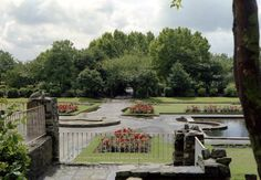 """Davyhulme Park """"Arches"""" and ornamental ponds,from Canterbury Road end. c. 1967"""