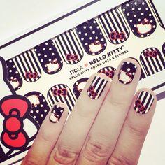 NCLA x Hello Kitty nailwraps in HK polka dots and stripes. shopncla.com