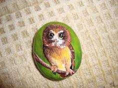 Owl+Rock+Hand+Painted+by+MJBousquet+on+Etsy