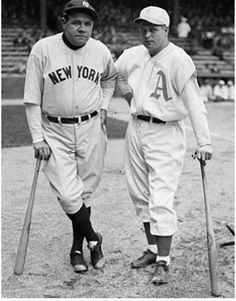 Babe Ruth and Jimmie Foxx. Foxx played best years with Philadelphia Athletics. Nickname: The Beast.