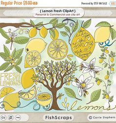 SALE Yellow Lemon ClipArt, Lemon Blossom Flowers + Hand Drawn Lemon Tree, Card Making, Retro Summer Citrus Fruit Vine & Branch